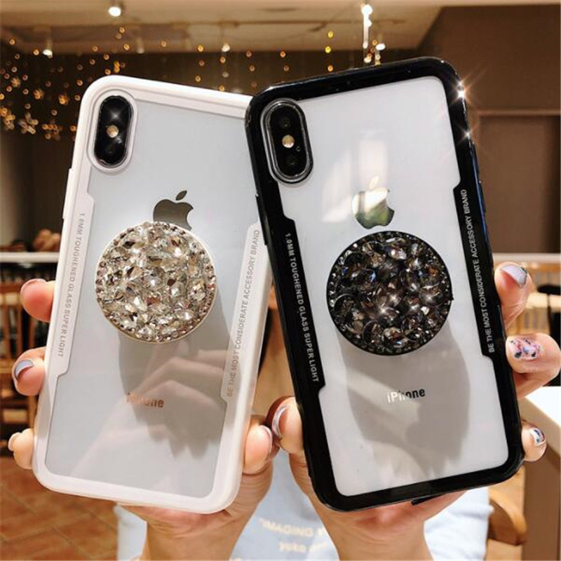 Detail Feedback Questions about Hot Bling Cases for iPhone XS Max XR XS X 6  6S 7 8 Plus Glitter Rhinestone Crystal Finger Ring Air Bag Stand coque  Fundas on ... 195358e6ac2a