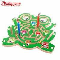 Simingyou Kids Wooden Puzzle Magnetic Maze Intellectual Jigsaw Board Development IQ Brain Teaser Maze Toy C20 Drop Shipping
