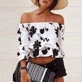 Женщины без бретелек растениеводство топ курто симпатичные белый цветочным принтом топы обрезанные рубашки с плеча blusa де alcinha haut femme сексуальная