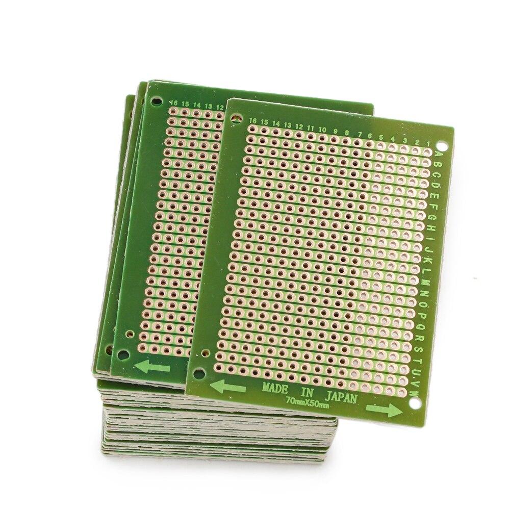 100pcs 50mm x 70mm Copper Strip Stripboard PCB Printed Circuit Board For Soldering Prototype DIY Making