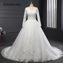 Custom Made Vestido De Noiva 2017 Wedding Dress V neck Sequin Ball Gown Sexy Perspective Tulle full Sleeve Wedding Gown