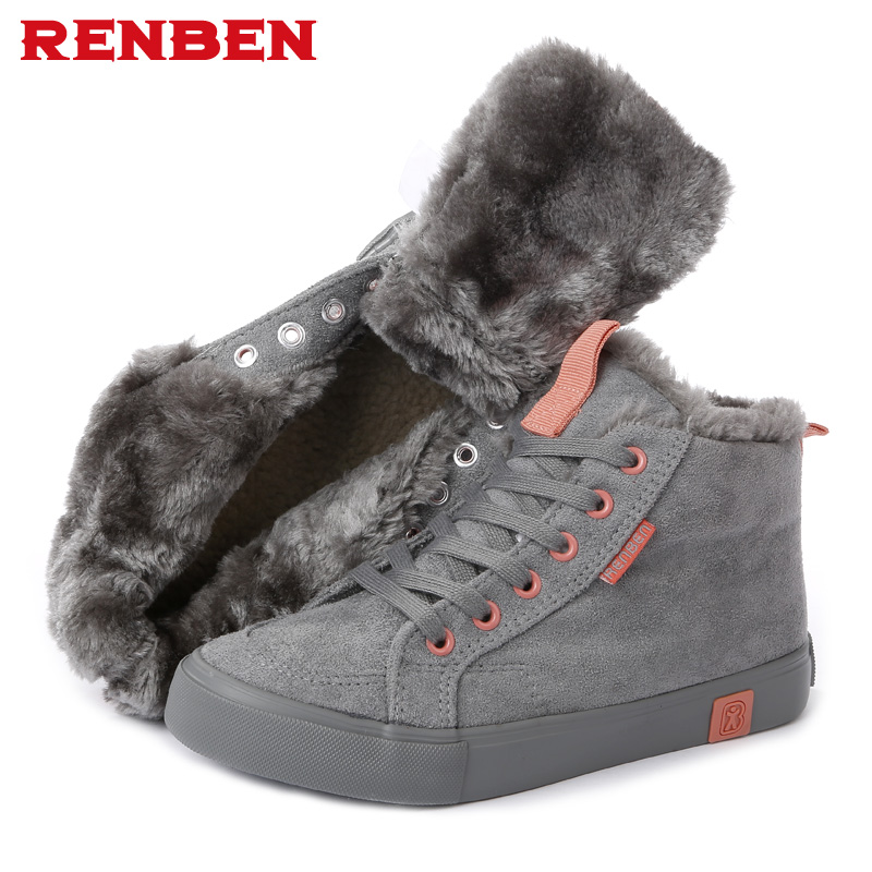 Women Boots Female Winter Shoes Woman Warm Snow Boots Fashion Suede Fur Ankle Boots Black Brown Size 35-40 2017 new women snow boots winter fox fur boots suede leisure shoes thick warm short boots plush girls fashion boots black brown