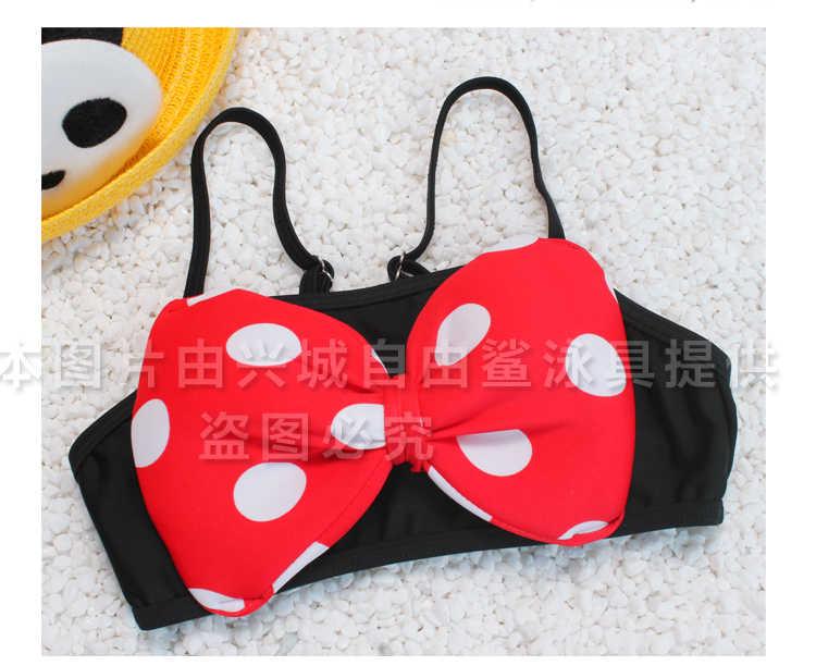 2018 dzieci strój Dziewczyna Dwa Kawałki Stroje Kąpielowe Pływać Cap trzy Kawałki kostium kostium Bikini skort plaży nosić Grils Mickey spódnica
