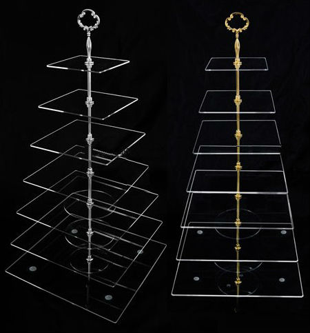Livraison gratuite 7 niveaux clair acrylique carré cristal gâteau Stand verre à plusieurs niveaux Cupcake Stand gratuit Fedex