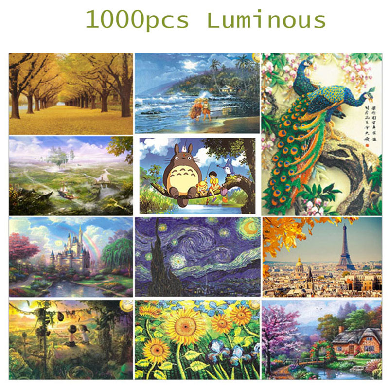Christmas Jigsaw Puzzles.Us 14 1 30 Off Hot 1000pcs Jigsaw Puzzles Kids Puzzle Toy Noctilucent Cratoon Totoro One Piece Animal Educational Toys Christmas Gift Puzzle In
