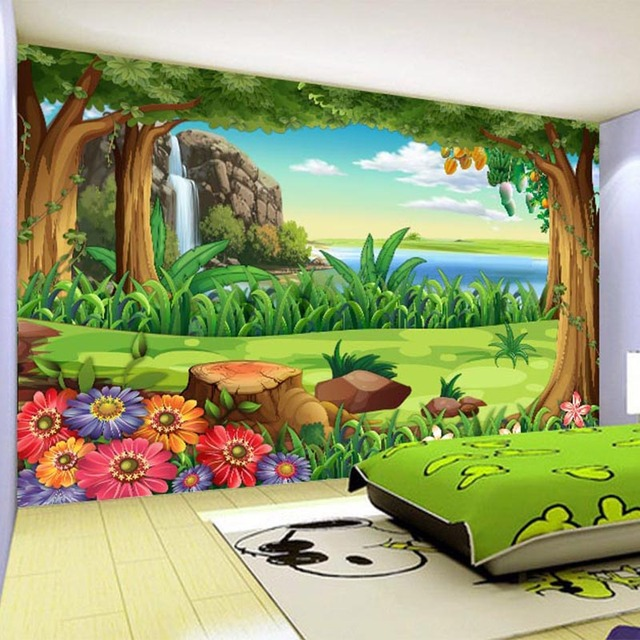 US $12.48 32% OFF|3D Tapete Kinder Cartoon Wald Landschaft Foto  Wandmalereien Kinder Schlafzimmer Hintergrund Wand Home Decor Papel De  Parede Infantil ...