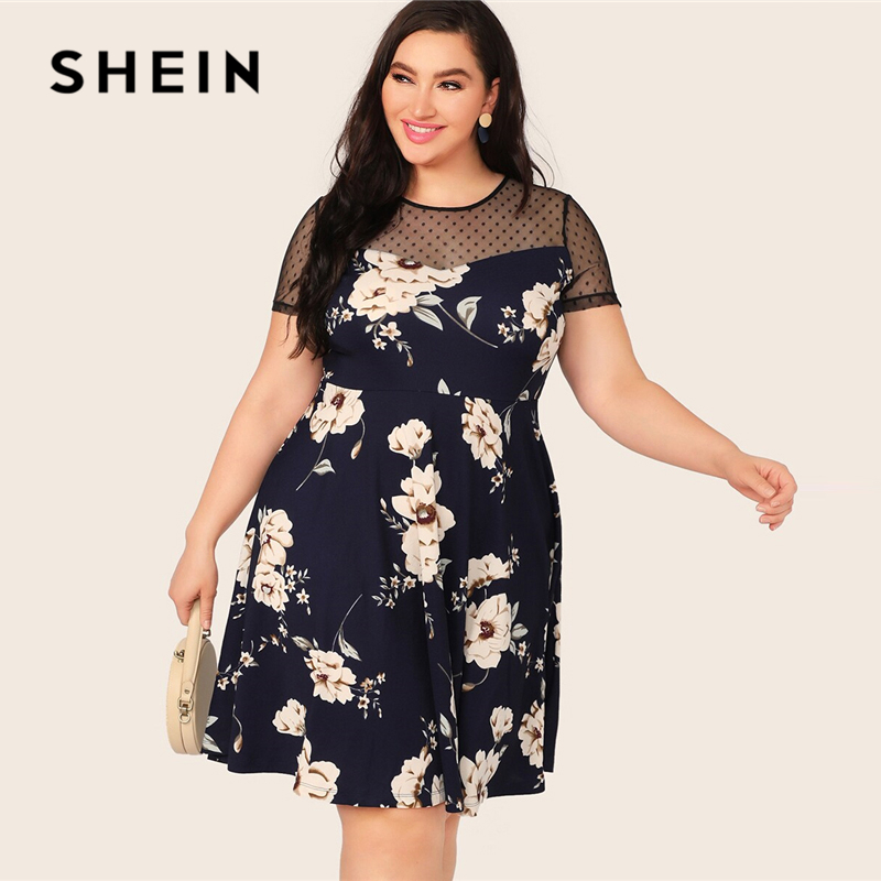 SHEIN Plus Size Navy Dobby Mesh Yoke Floral Print A Line Dress 2019 Women Summer Elegant High Waist Fit And Flare Midi Dresses