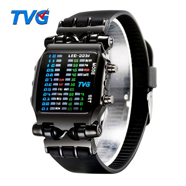 Luxury Brand TVG Watches Men Fashion Rubber Strap LED Digital Watch Men Waterproof Sports Military Watches Relogios Masculino