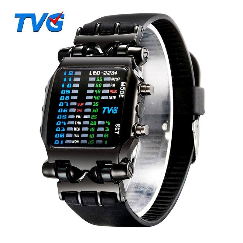 Marca de luxo tvg relógios masculinos moda pulseira de borracha led relógio digital à prova dwaterproof água esportes relógios militares relogios masculinos