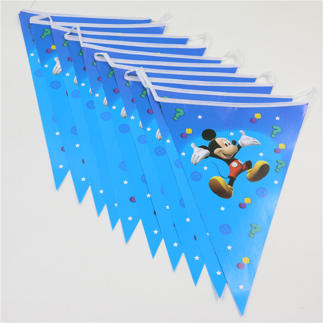 Wholesale Flag Banner Paper Card Mickey Mouse Party Supplies Kids Birthday Decorations Hanging Flags Baby Shower