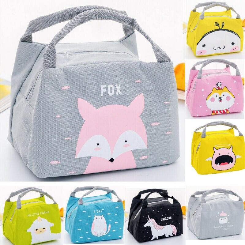 Portable isolé nourriture thermique pique-nique sac à déjeuner boîte dessin animé sacs poche pour femmes fille enfants enfants