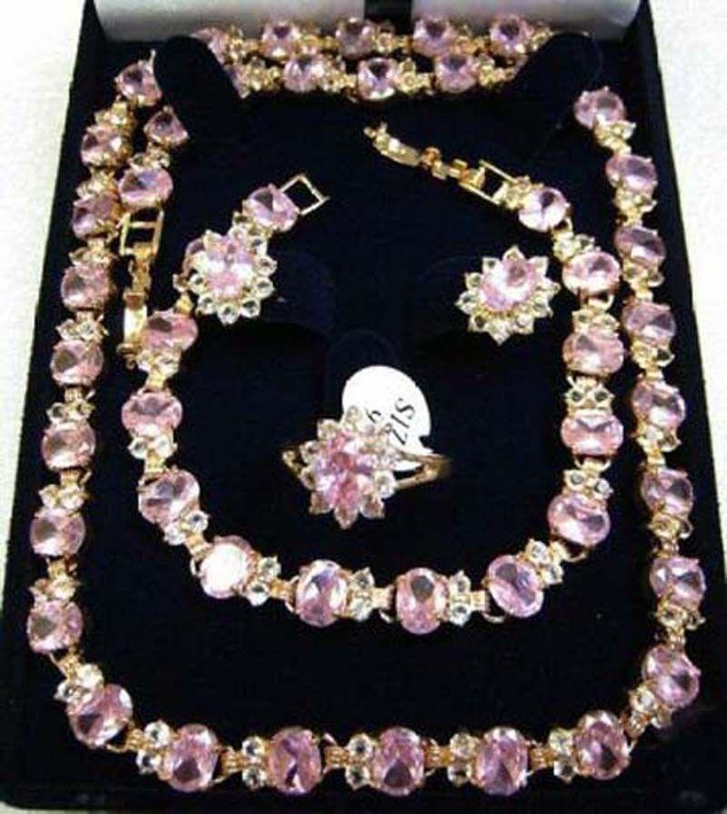 Zircon collier Bracelet boucles d'oreilles bague femmes ensembles de bijoux cadeaux