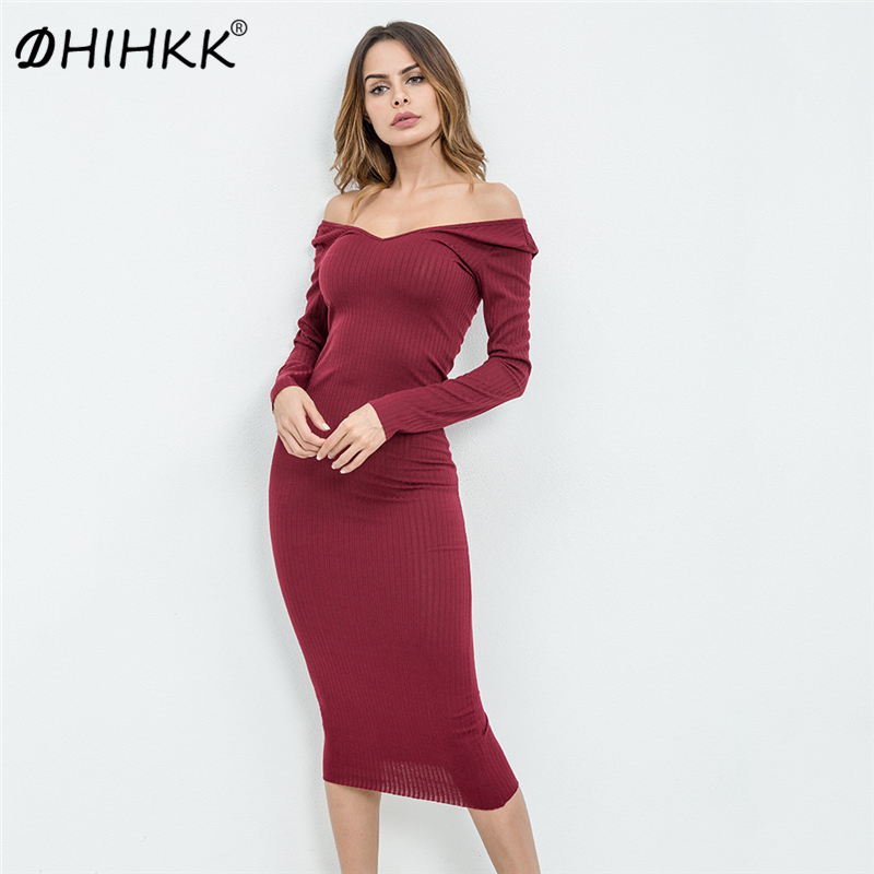 DHIHKK 2018 New Sexy Off Shoulder Sweater Dress Big Spring Pencil Dress Style Bodycon Dress Party Wear Over Maxi Dresses
