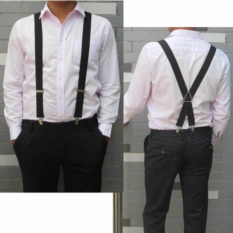 BD054-L XL XXL boyutu jartiyer erkekler ayarlanabilir elastik X geri pantolon kadın askı pantolon 55 inç klipleri donanma mavi
