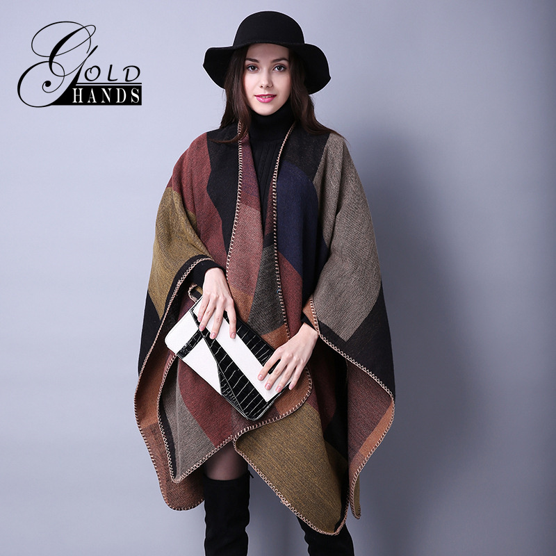 Gold Hands 2017 New Women Winter Scarf Plus Size Poncho Scarves Blue Red Thick Manta Khaki Poncho Cashmere Female Plaid Wraps