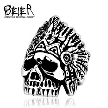 BEIER Aliexpress New Indiana Skull Stainless Steel Punk Exaggerated Jewelry USA Fashion Men's Ring E-packet BR8-213(China)