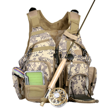Camo Fly Fishing Vest Adjustable Size Army Green Outdoor Sports Fishing Bag Mesh Vest General Size Mutiple Pocket Hiking Hunting