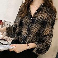 Plaid Chiffon Plus Size 4XL Women's Shirt Long Batwing Sleeve Office Lady Femini