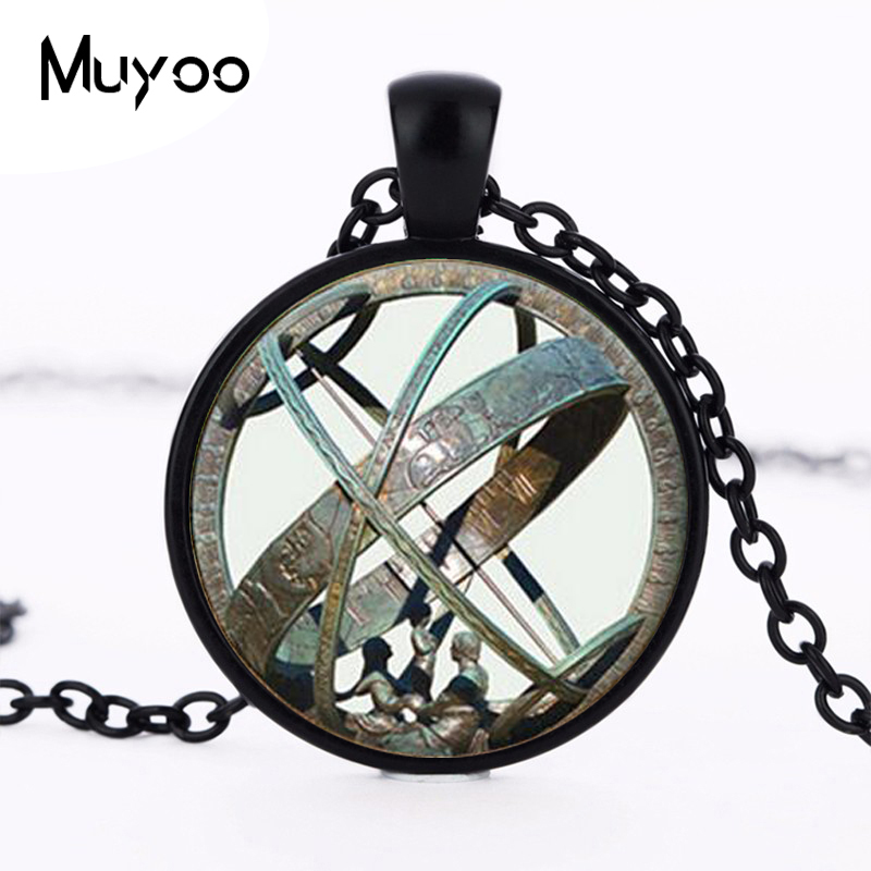 Astronomical Sundial Globe Pendant Astronomy Necklace Aqua Bronze Astrological Vintage Astronomy Science Jewelry HZ1