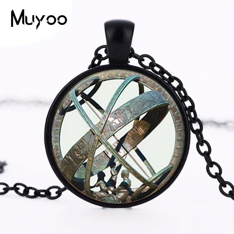 Astronomical Sundial Globe Pendant Astronomy Necklace Aqua Bronze Astrological V