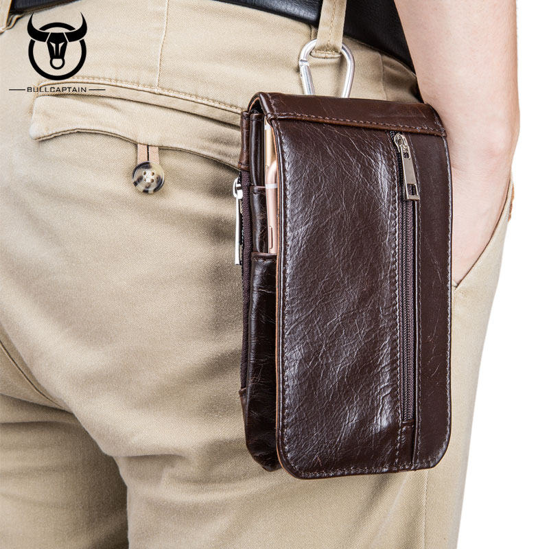 BULLCAPTAIN Brand Retro Man Belt Waist Bags Cowhide ...