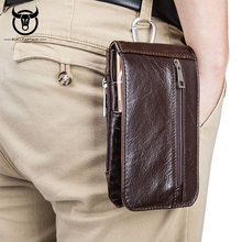 BULLCAPTAIN márka retro férfi öv derék táskák tehénbőrös valódi bőr övcsomagok férfiak részére Szabadidő Vintage Phone táskák pénztárca barna