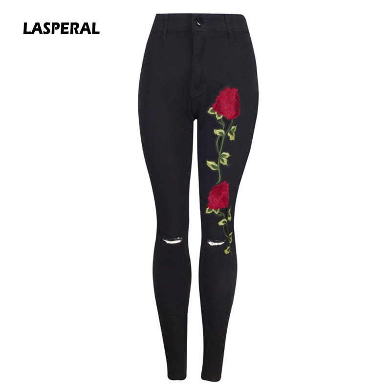 LASPERAL Women Ripped Pencil Pants Full Length Slim Embroides