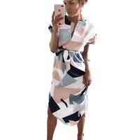Женские летние платья средней длины с геометрическим принтом, Пляжное Платье в стиле бохо, свободное платье с рукавами «летучая мышь», боль...