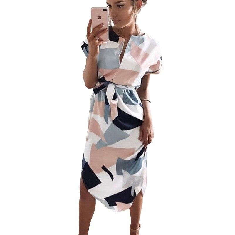 2019 Women Midi Party Summer Dresses Geometric Print Boho Beach Dress Loose Batwing Sleeve Dress Vestidos Plus Size