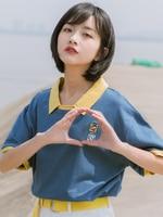 Soft girl polo shirt lovely short sleeve embroidery summer 2019 new loose Korean Lapel haze blue T shirt students