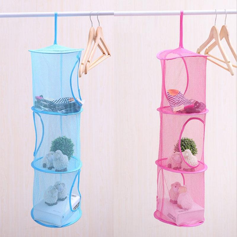 Nylon Fabric Hanging Laundry Basket Storage Bag For Toys Washing Basket Dirty Clothes Sundries Storage Folding Hanging Organizer