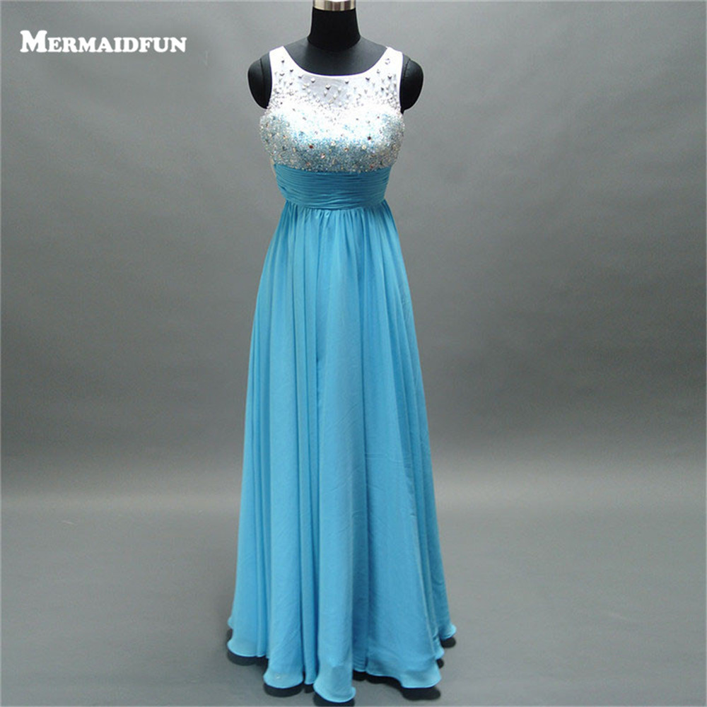 2017 A Line New Beaded Sequins Bodice See Through Back Long Blue Custom Made Prom Dresses