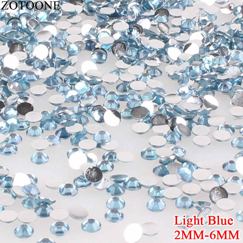ZOTOONE 3D Light Blue Crystal Resin Nail Art Rhinestones Non Hotfix Rhinestone Shoes FlatBack Strass Glue On Strass Applique E