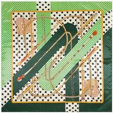 Pontos verdes Juntando Impressão Lenço Quadrado Lenços de Seda Sentimento 90 cm Jogo Acessório Vestuário Adicionar a Roupa Da mulher Da Menina Presente 90FJ14