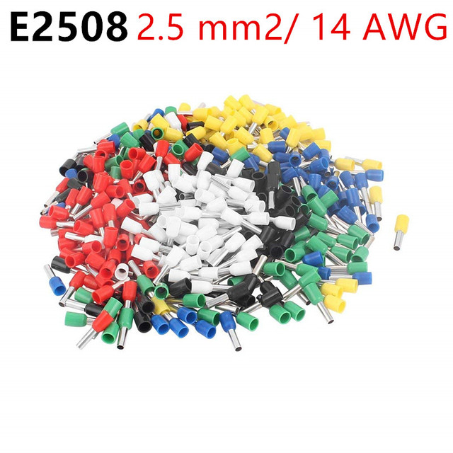 100pcs/Lot E2508 14 AWG 2.5mm2 Insulated Cord End Terminal Wire ...