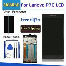 AICSRAD 5.0 A CRISTALLI LIQUIDI Per LENOVO P70 Display Touch Screen con Telaio di Ricambio per Lenovo P70 Display LCD P70 A P70A nero Whtie