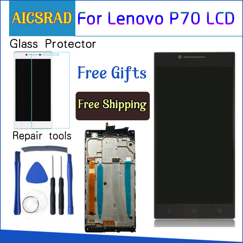AICSRAD 5.0'' LCD For <font><b>LENOVO</b></font> <font><b>P70</b></font> <font><b>Display</b></font> Touch Screen with Frame Replacement for <font><b>Lenovo</b></font> <font><b>P70</b></font> LCD <font><b>Display</b></font> <font><b>P70</b></font>-A P70A Black Whtie image