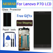 AICSRAD 5.0 LCD עבור LENOVO P70 תצוגת מסך מגע עם החלפת מסגרת עבור Lenovo P70 LCD תצוגת P70 A P70A שחור Whtie