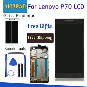 Image 1 - AICSRAD 5.0 LCD עבור LENOVO P70 תצוגת מסך מגע עם החלפת מסגרת עבור Lenovo P70 LCD תצוגת P70 A P70A שחור Whtie