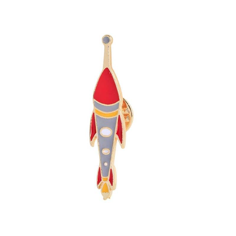 Mode Kreative Niedlichen Cartoon Roten Planeten Sterne Mond teleskop Emaille Brosche Pins Hemd Kragen Dekoration Taste frauen Schmuck