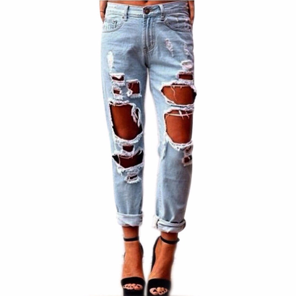 Women Cool Denim Cotton Jeans Destroyed Hole Ripped Distressed Faded Pants Casual Slim Denim Trousers Pantalones Vaqueros Mujer meking octagon softbox 170cm 67 strobe mono light softbox with speed ring bowens mount for photographic