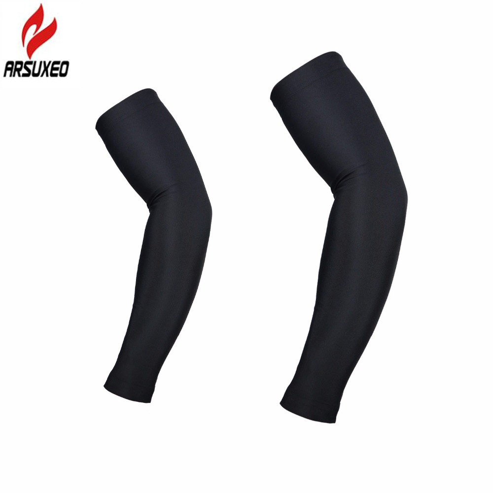 ARSUXEO One Pair Cycling Sleeves Bike Bicycle Armwarmer MTB Arm warmer UV Protection Fishing Golf Running Sports Arm Sleeves arsuxeo luminous reflective uv protection arm sleeves elbow support 2pcs