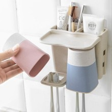 BF040 Creative lovers suction toothbrush holder Wall Cup Set rack 15*13cm