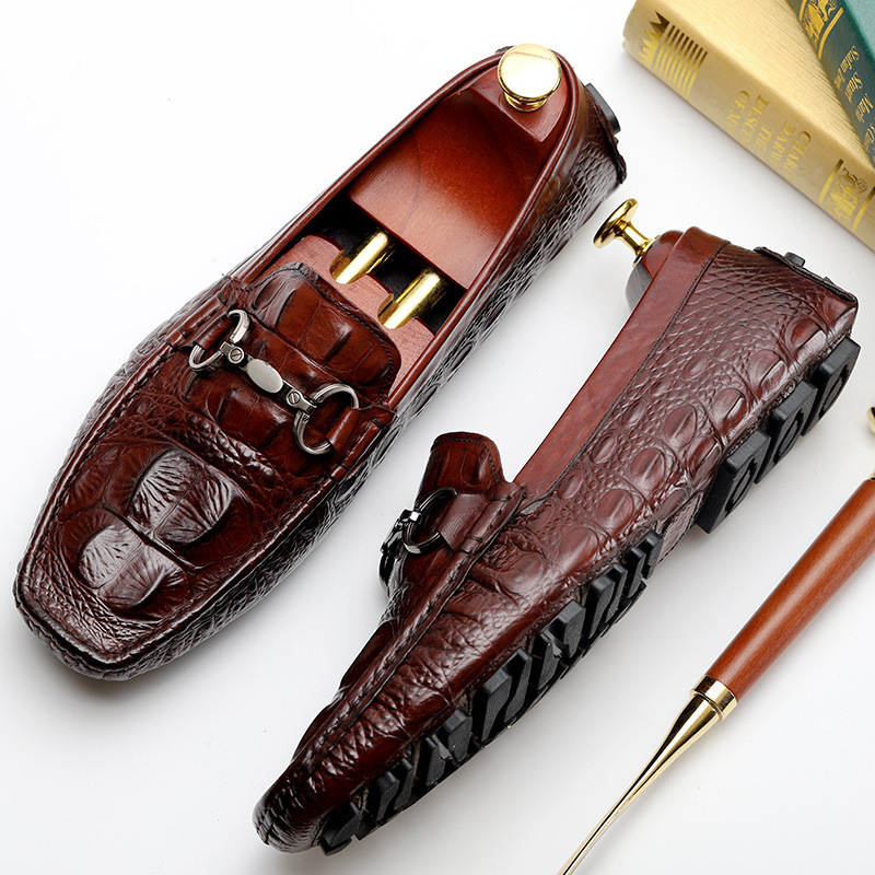2019 Genuine Leather Fashion Mens Casual Driving formal brown derby classic dress Shoes Crocodile pattern Business Loafers Men2019 Genuine Leather Fashion Mens Casual Driving formal brown derby classic dress Shoes Crocodile pattern Business Loafers Men