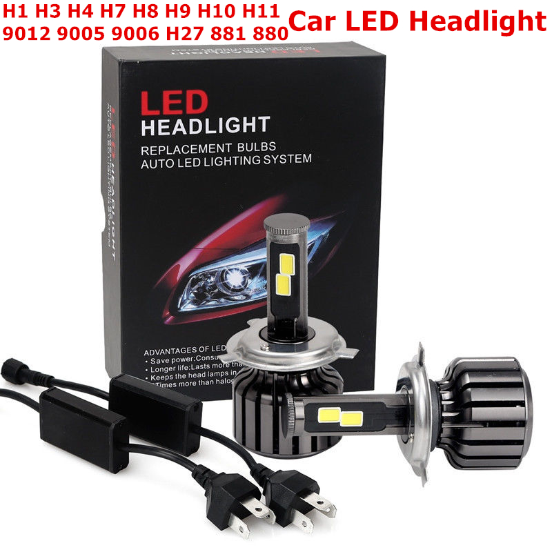 1Pair LED Car Headlight H7 H4 H11 H8 H9 H3 H1 HB3 9005 HB4 9006 H16 5202 9012 H27 881 880 Auto/Car LED Headlights Conversion Kit led h4 h7 h11 h1 h10 hb3 h13 h3 9004 9005 9006 9007 cob led car headlight bulb 80w 8000lm 6000k auto headlamp 200m light range
