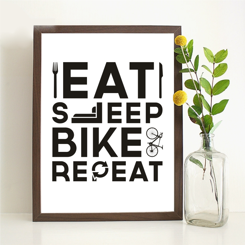 Canvas Painting Posters Bike on Wall Pictures Eat Sleep Bike Repeat Modern Art Living Room No Frame