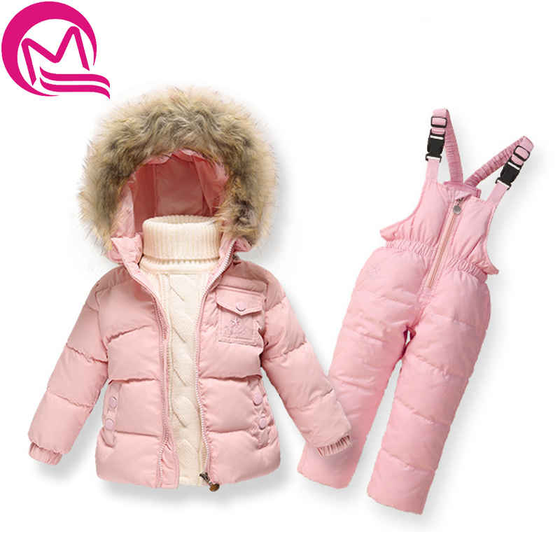 Russian Winter Warm Baby Boys Girls snowsuit Children Duck Down coats jacket with fur hood Thick kids ski snow suit clothes set new 2017 winter baby thickening collar warm jacket children s down jacket boys and girls short thick jacket for cold 30 degree