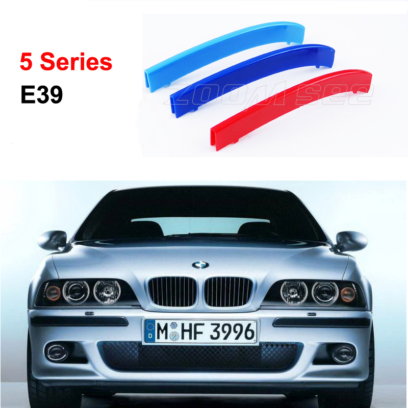 For 1995-2003 BMW 5 series E39 520i 535i 525i 528i 530i 3D M Styling Front Grille Trim motorsport Strips grill Cover Stickers 2pcs right left fog light lamp for b mw e39 5 series 528i 540i 535i 1997 2000 e36 z3 2001 63178360575 63178360576