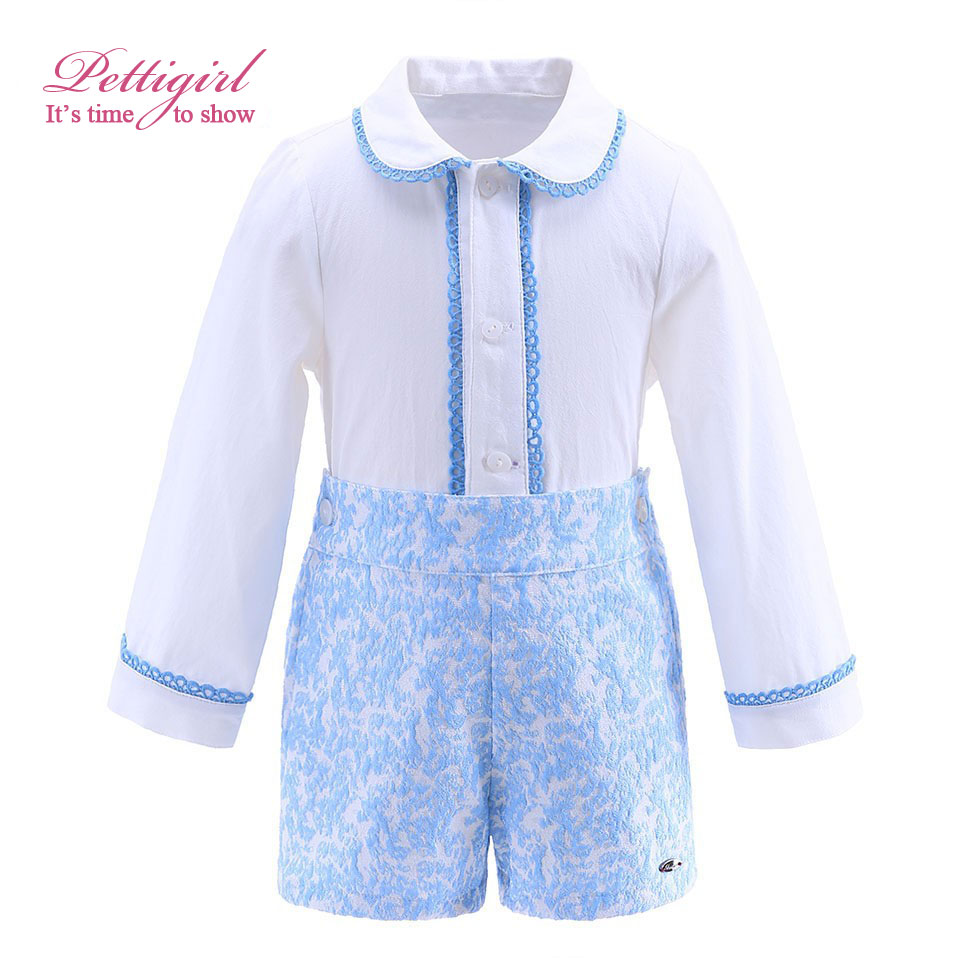 Pettigirl (Preorder) Autumn Boy Clothing Sets With Lace Hem Collar Blue Jacquard Boutique Kids Thanksgiving Outfit B-DMCS908-898