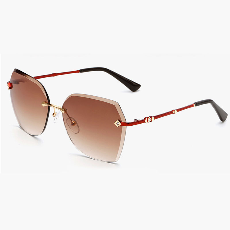 4d5e822e136 Fashion Women Rimless Sunglasses with Diamond Decoration Accessories on  Gradient Tinted Lenses for Woman Sunwear Frame